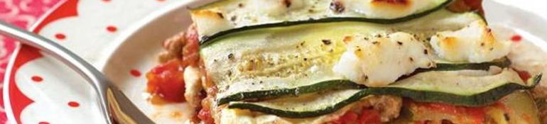 Receta: Lasaña de calabacín y hamburguesa de pollo